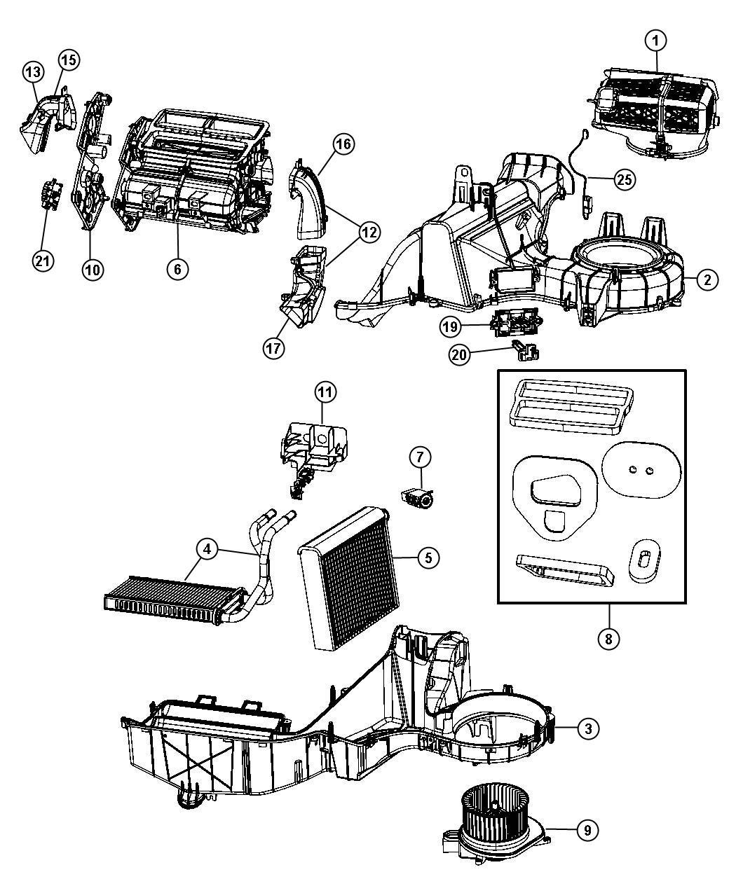 Dodge Nitro Evaporator, evaporator kit. Air conditioning
