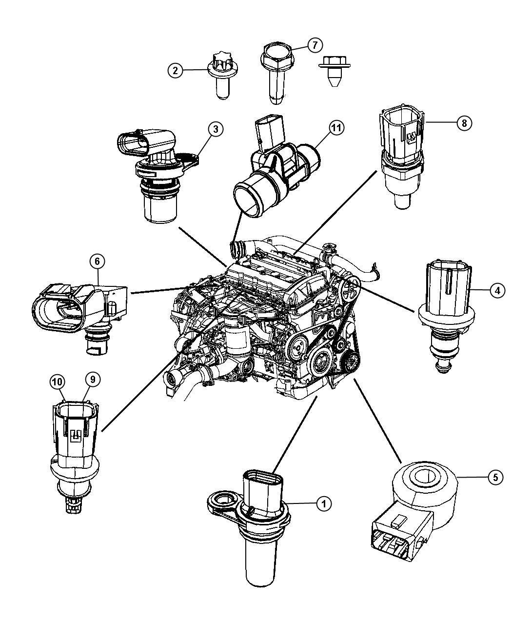 2009 Dodge Caliber Sensors, Gas Engine.