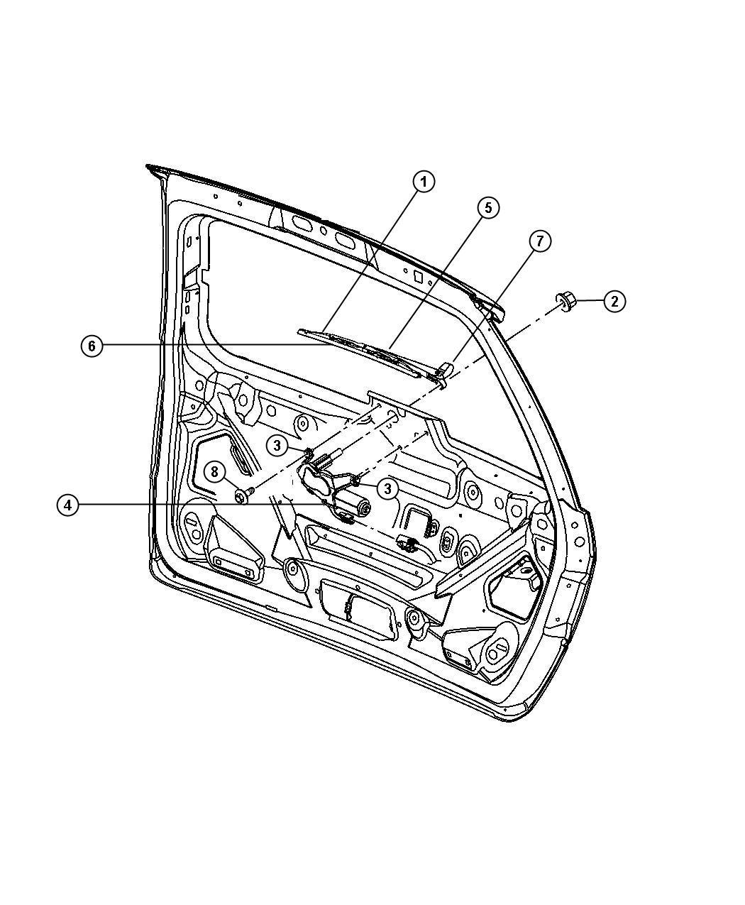 Chrysler Pacifica Grommet. Wiper motor and bracket