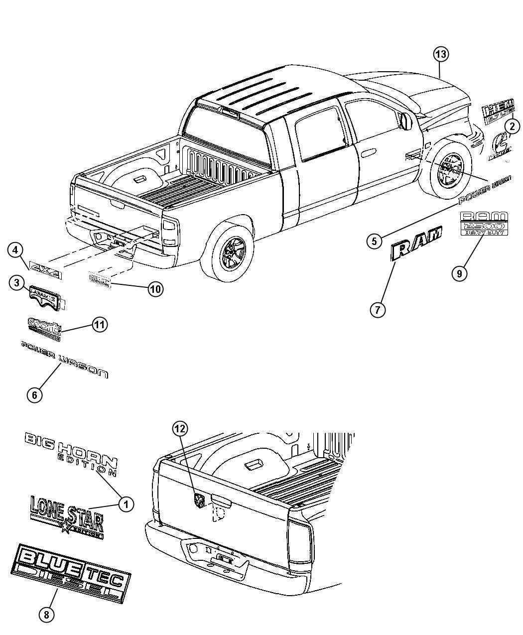 Dodge Ram 1500 Nameplate. Tailgate. Big horn. Lower right