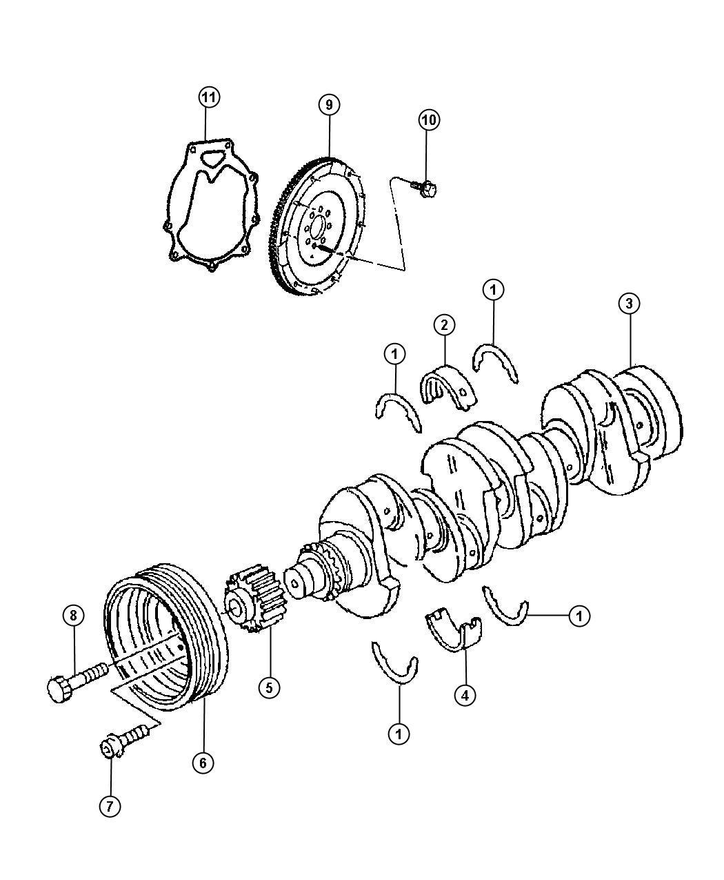 Crankshaft, Crankshaft Bearings, Damper And Flywheel 2.0L