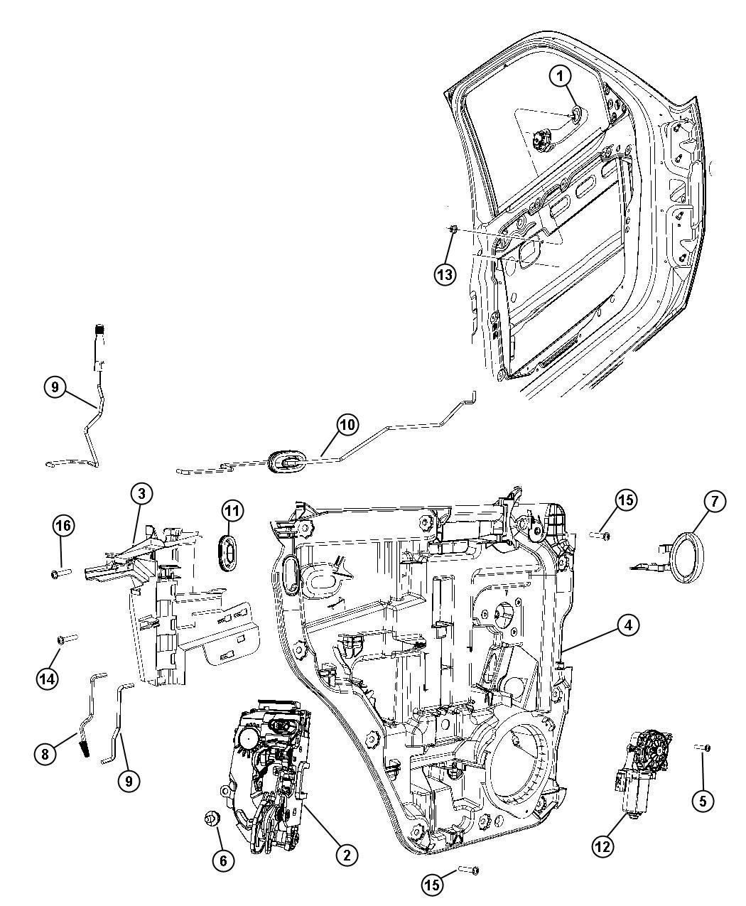 Dodge Nitro Handle. Inside remote control. Right