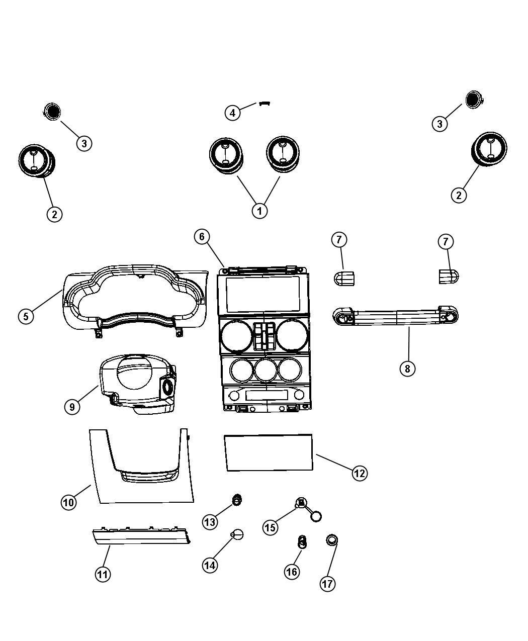 Jeep Wrangler Bezel. Instrument panel. Center. [pwr
