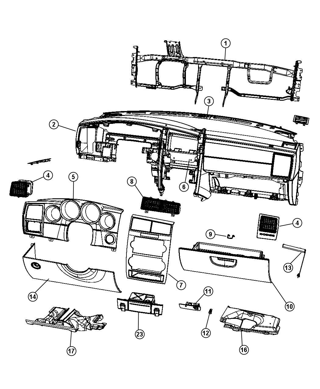 Dodge Charger Bezel. Instrument panel. Center. Trim: [all