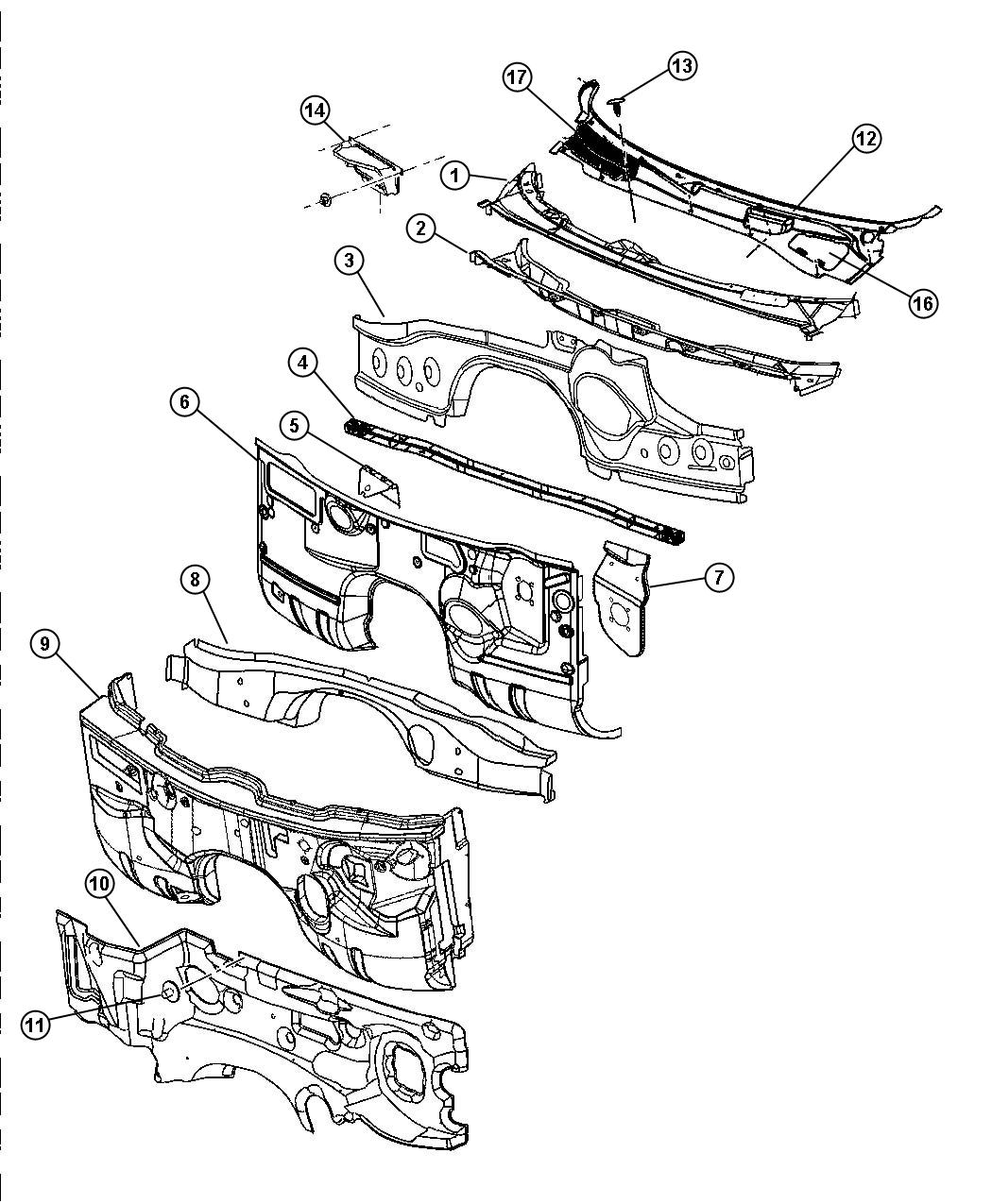 Dodge Magnum Panel Cowl Plenum Lower