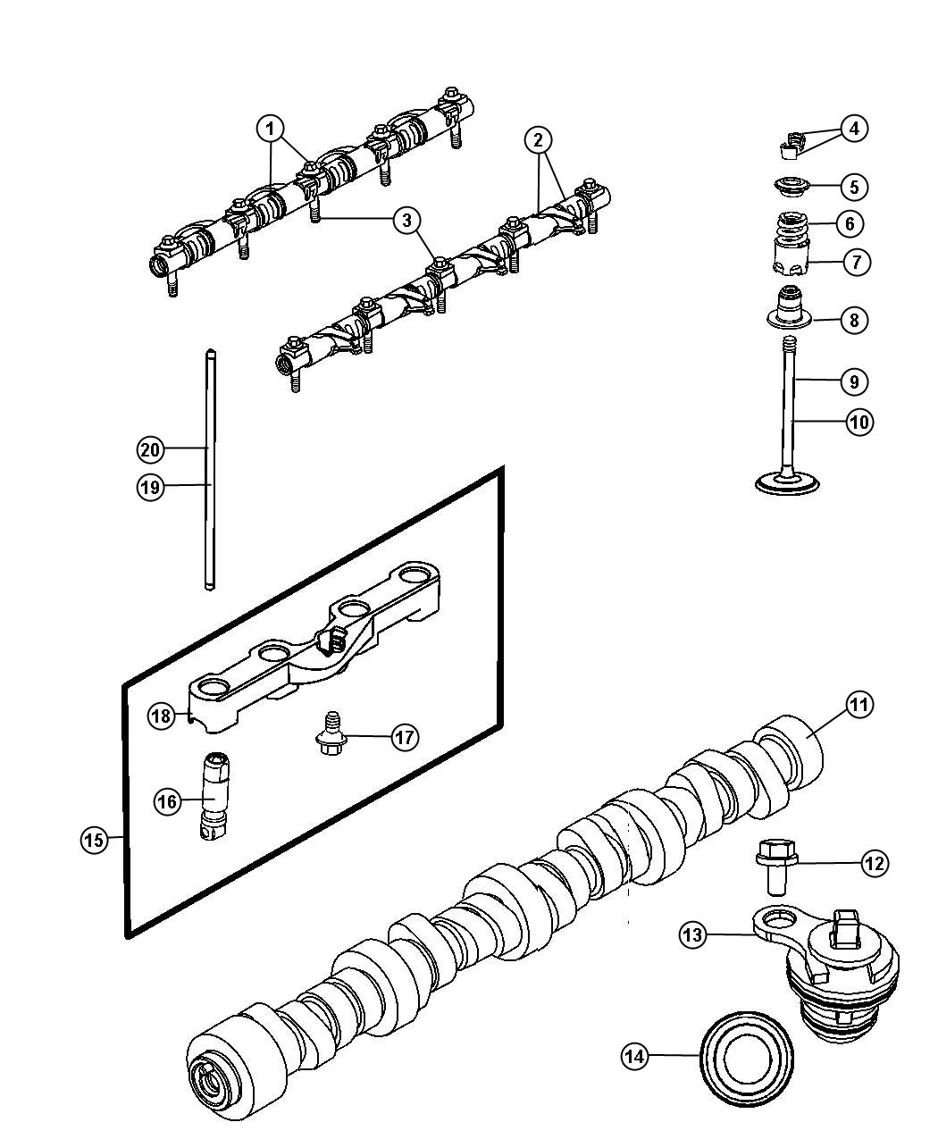 2008 Chrysler 300 Seal. Valve guide. Exhaust, intake