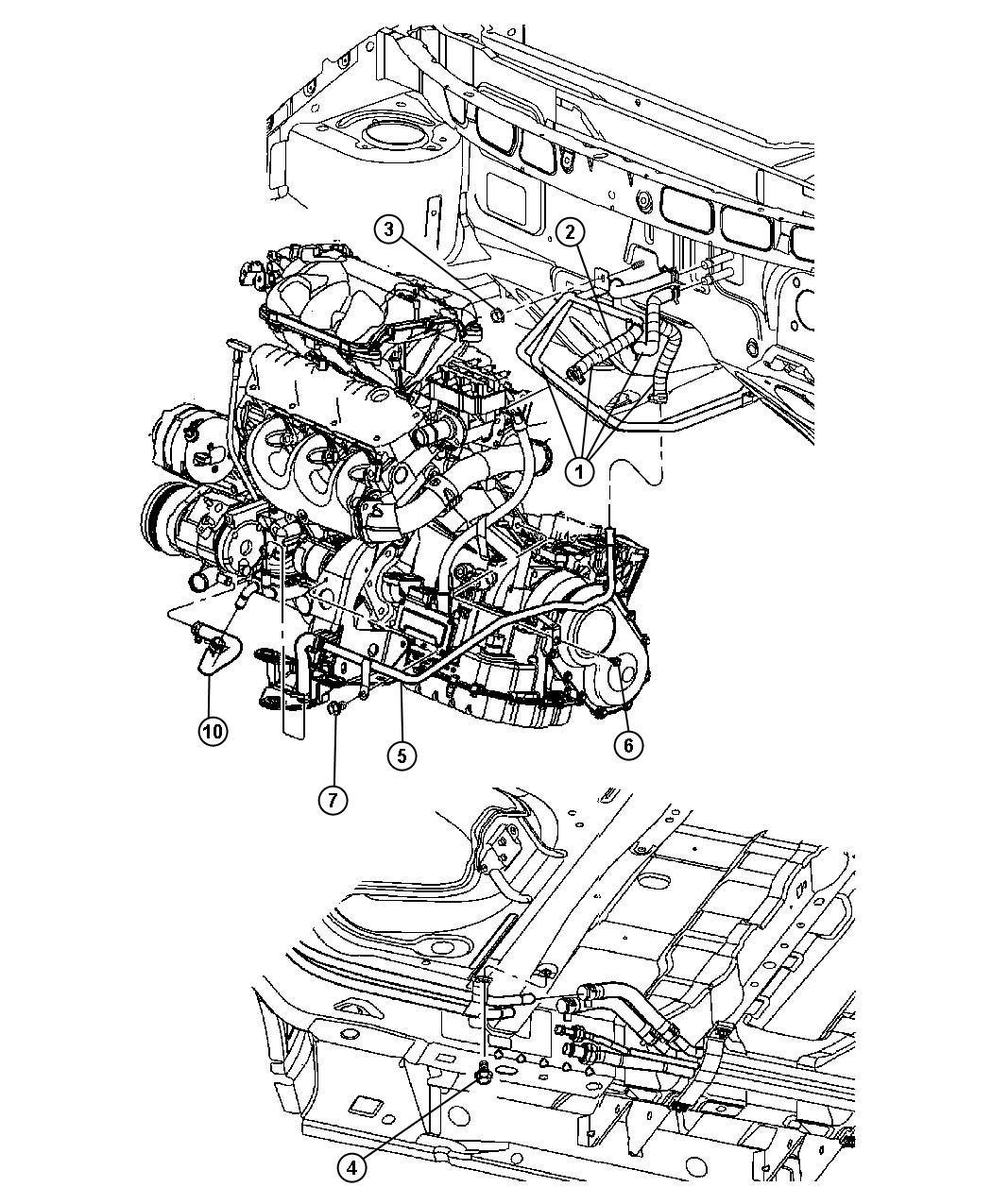 2002 Chrysler Hose. Heater supply w/aux. Heater. Waux