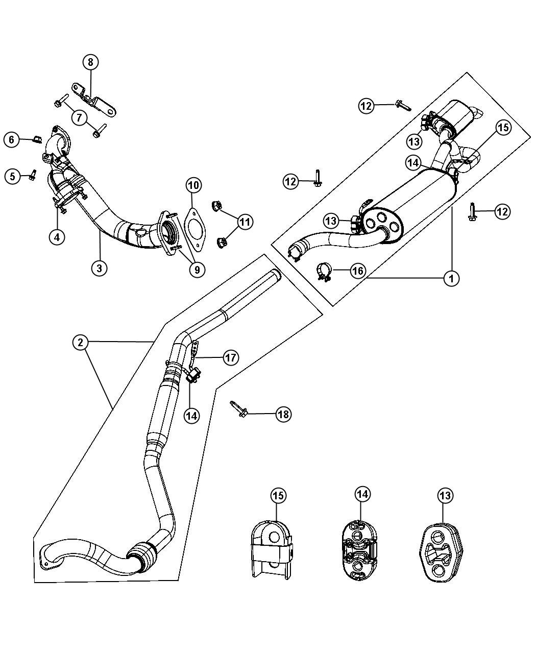 Jeep Cherokee Clamp Exhaust Crossunder