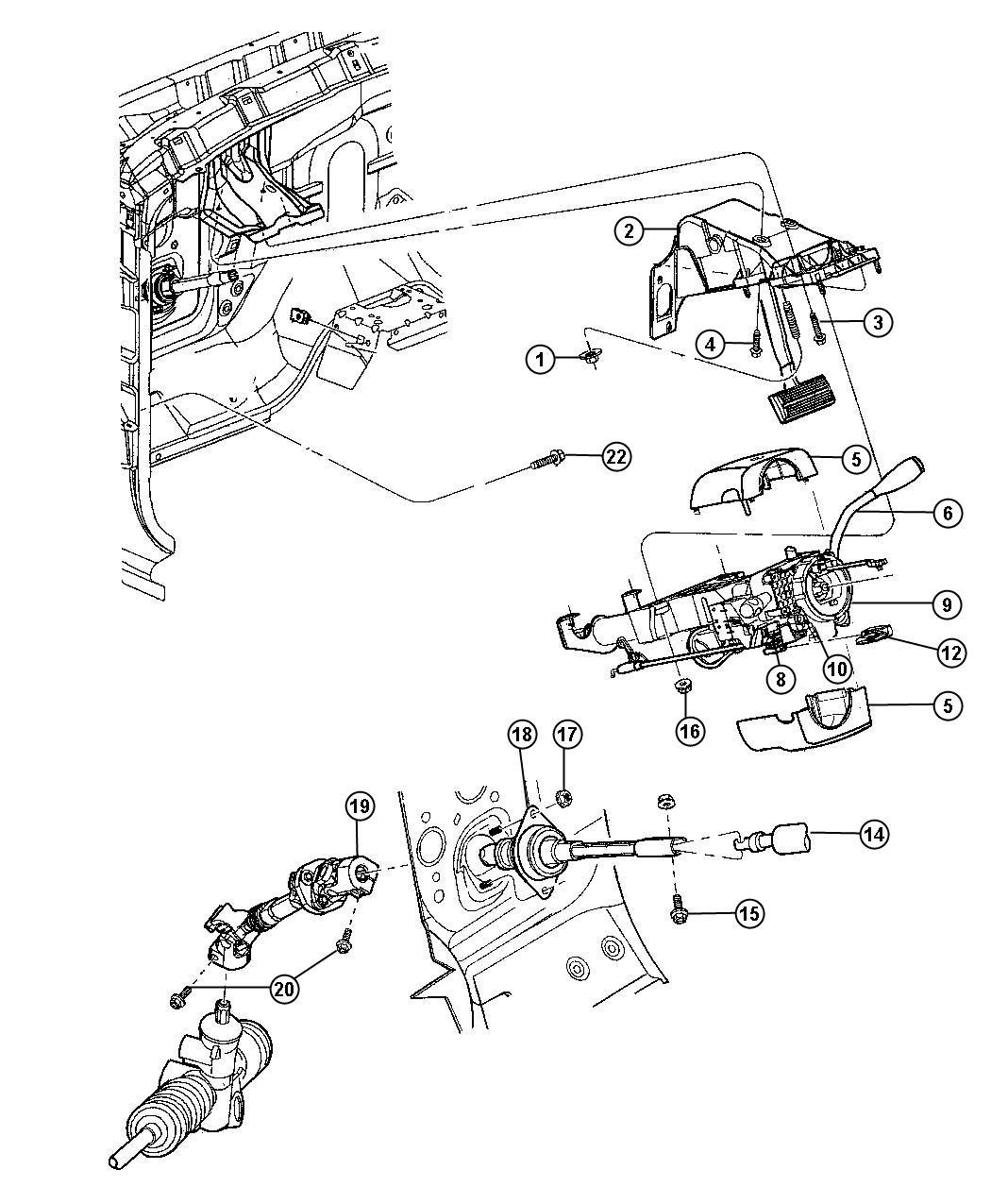 2008 Dodge Durango Lever. Tilt column release