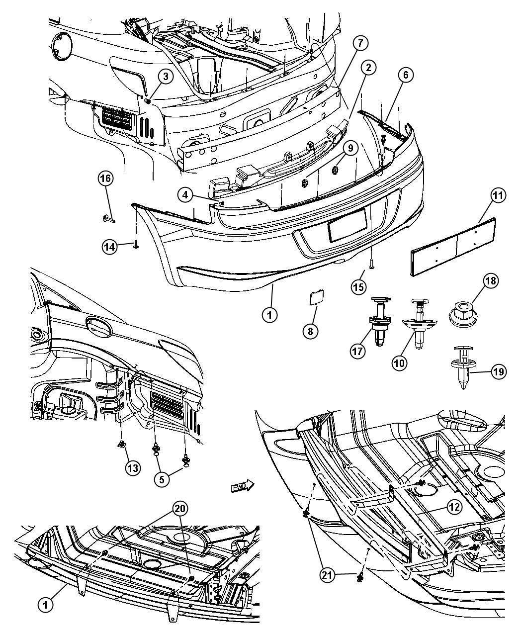 Chrysler Sebring Bracket, license plate kit. Front. Mdj