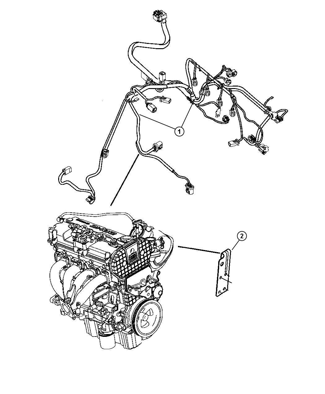 2007 Chrysler Sebring Bracket. Engine wiring. Engine