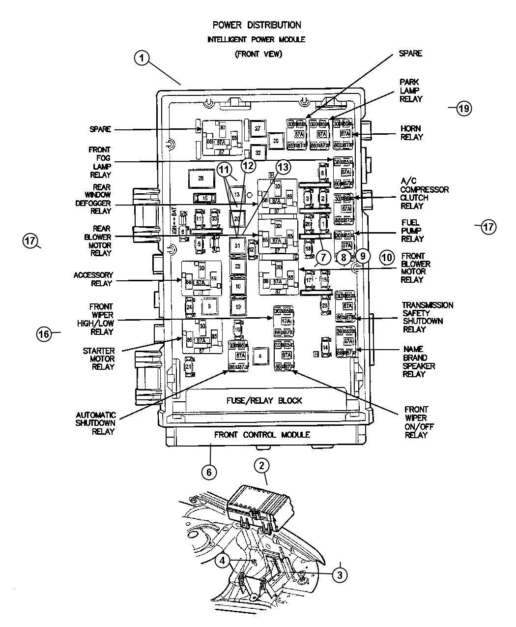 Chrysler Aspen Relay. Radiator fan. Located on bumper beam