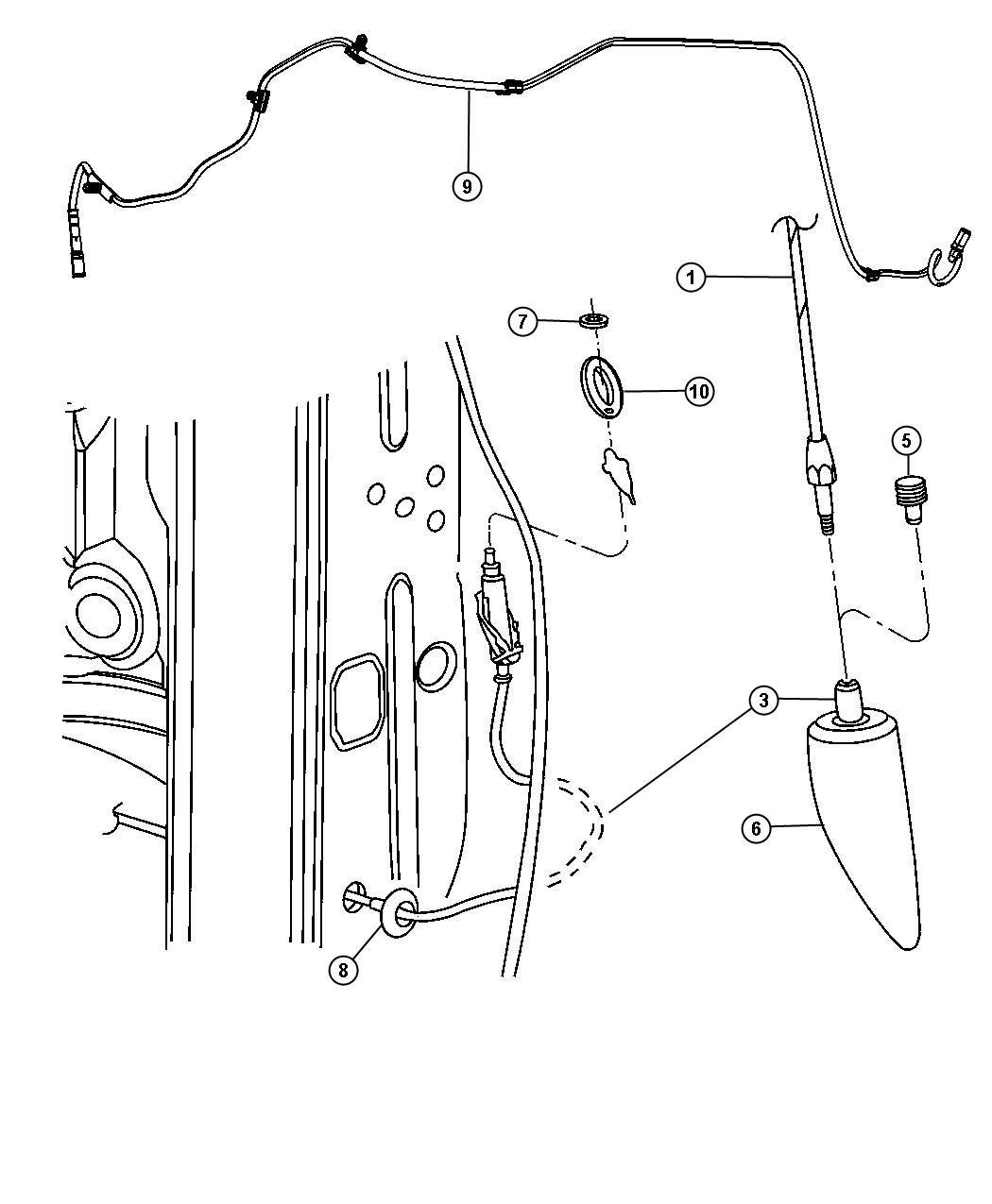 Dodge Dakota Cap nut, nut. Antenna, antenna base. M6x1