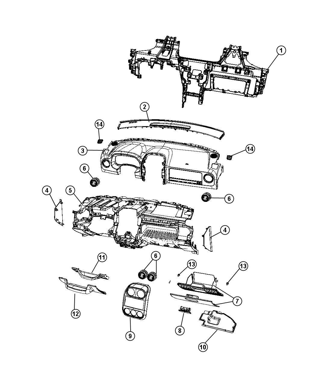 Jeep Patriot Bezel. Instrument panel. Center. [dk. Slate