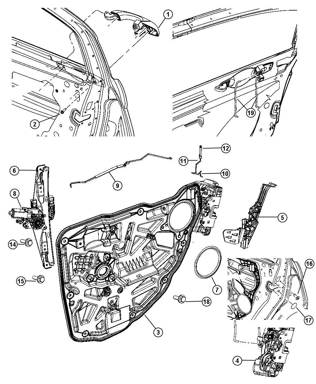 Chrysler 200 Motor Window Regulator 2 Pin Left