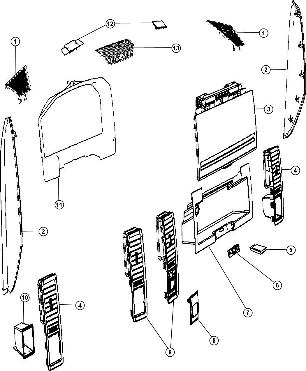 Dodge Ram Door Glove Box Trim All Trim Codes