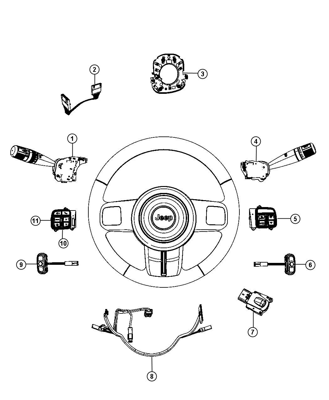 2012 Jeep Liberty Switch. Horn. Trim: [all trim codes