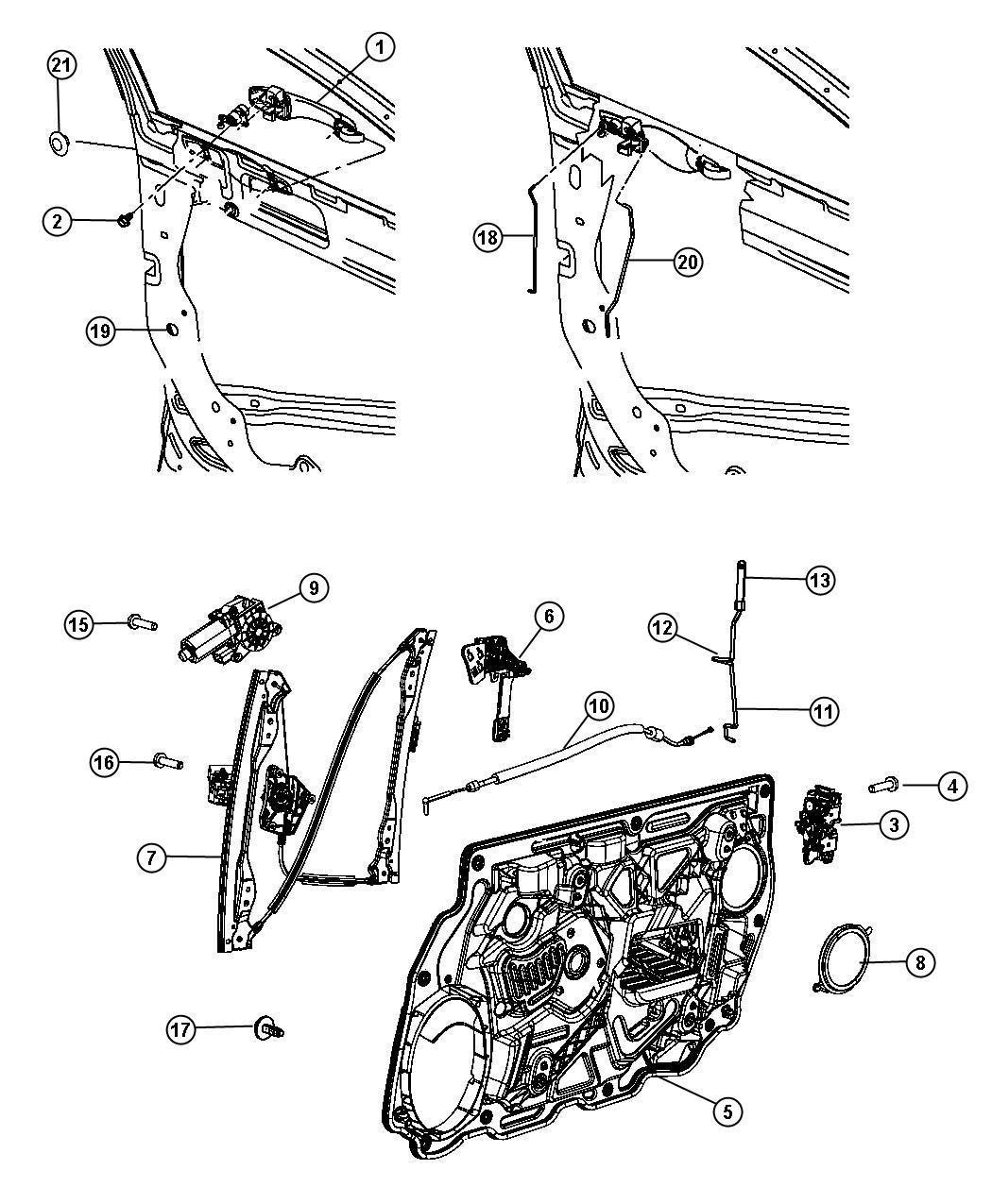 2013 Dodge Avenger Motor. Window regulator. 2 pin. Right