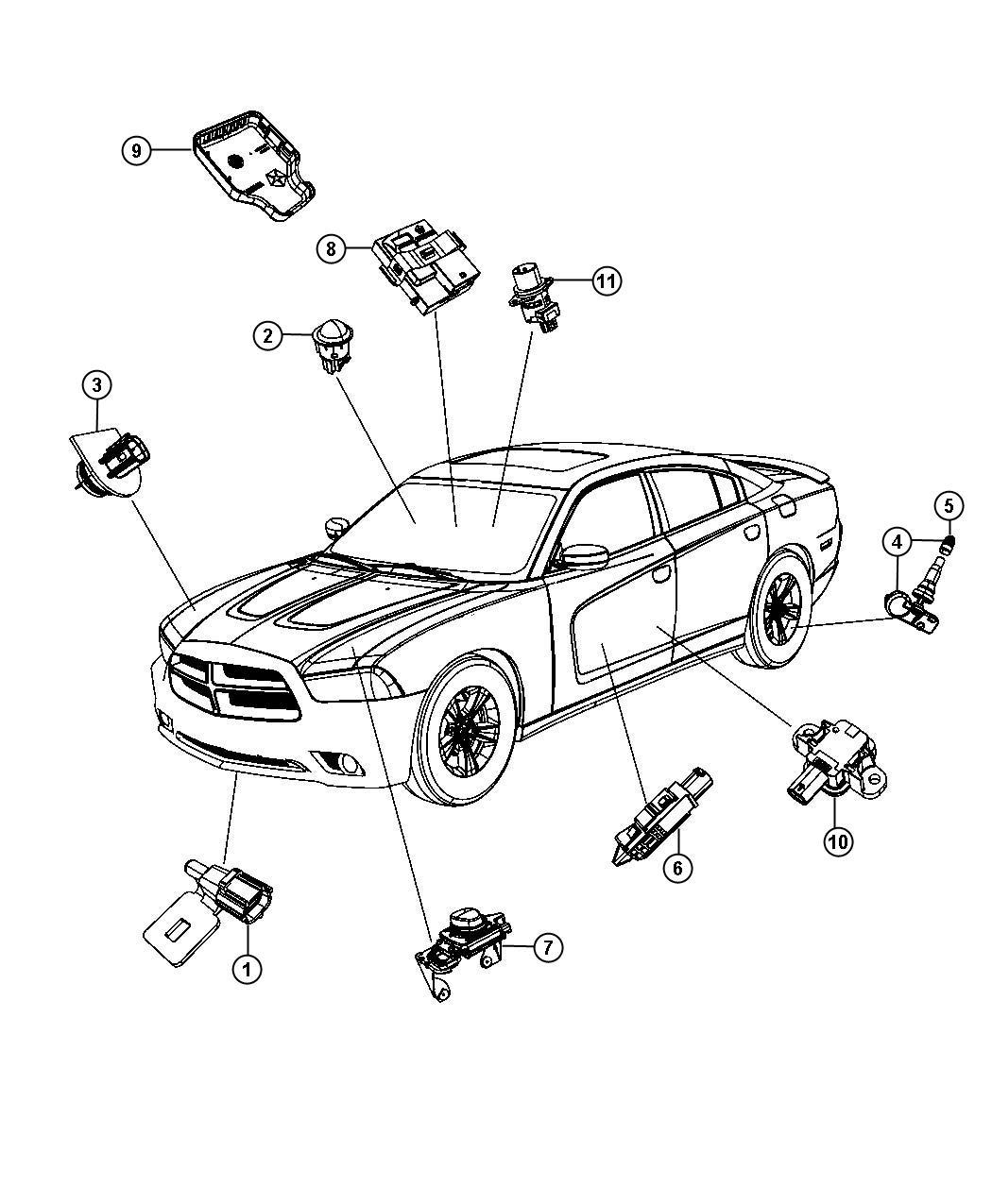 2013 Dodge Sensor and bracket. Adaptive speed control