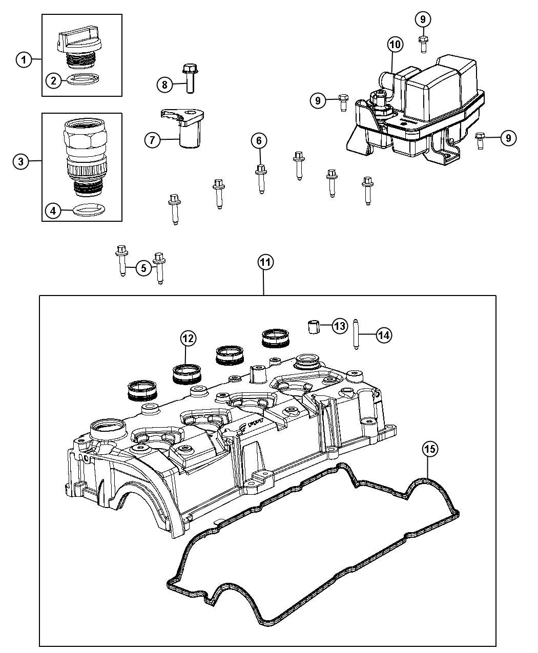 2013 Dodge Dart Separator. Engine oil. Illustration, refer