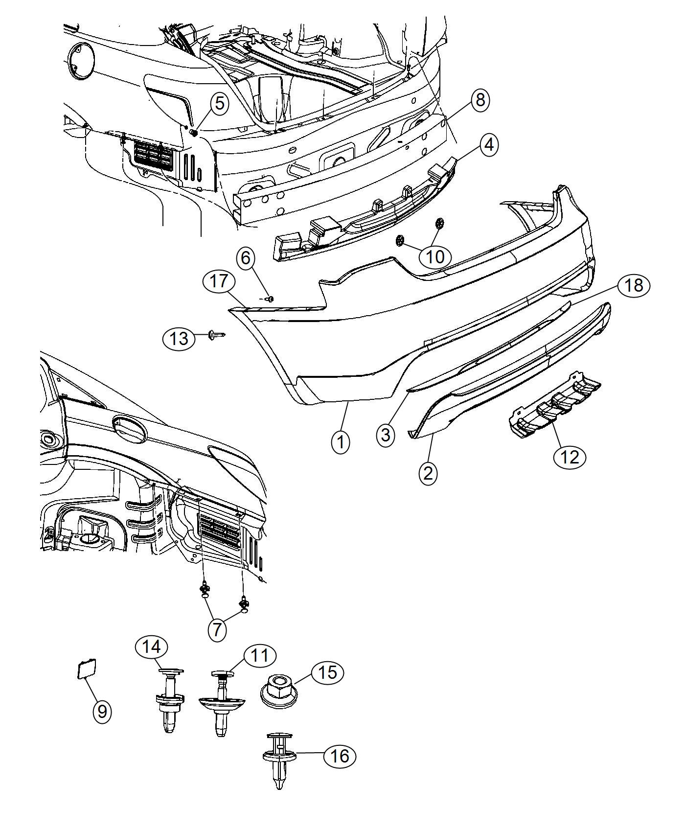 Chrysler 200 Fascia. Rear lower. [body color fascias