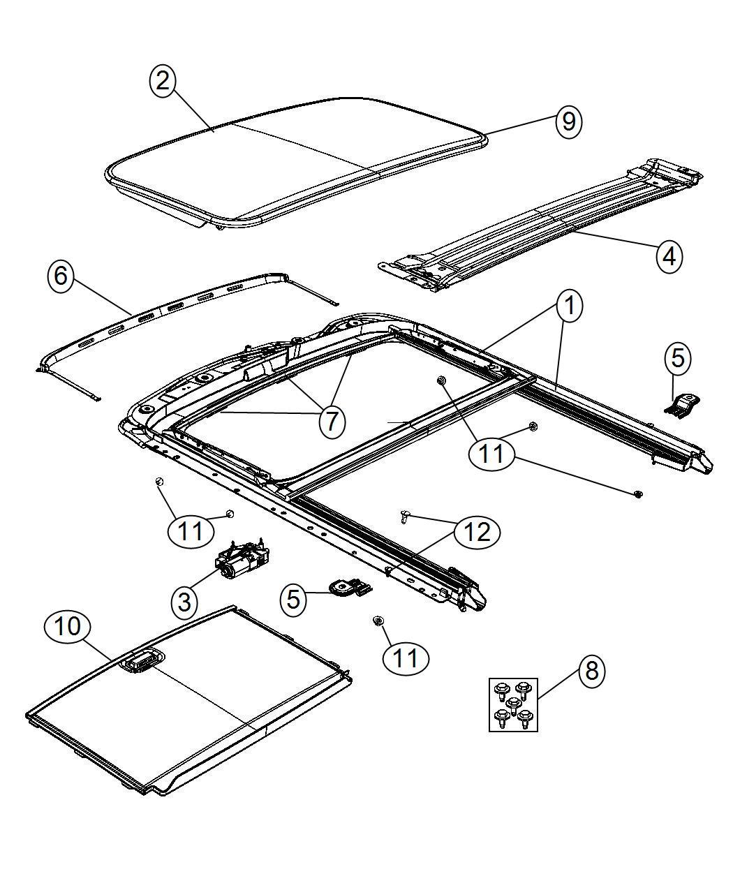 Jeep Liberty Seal Sunroof Glass Trim No