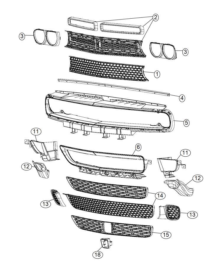 2015 Dodge Challenger Front Grille Diagram