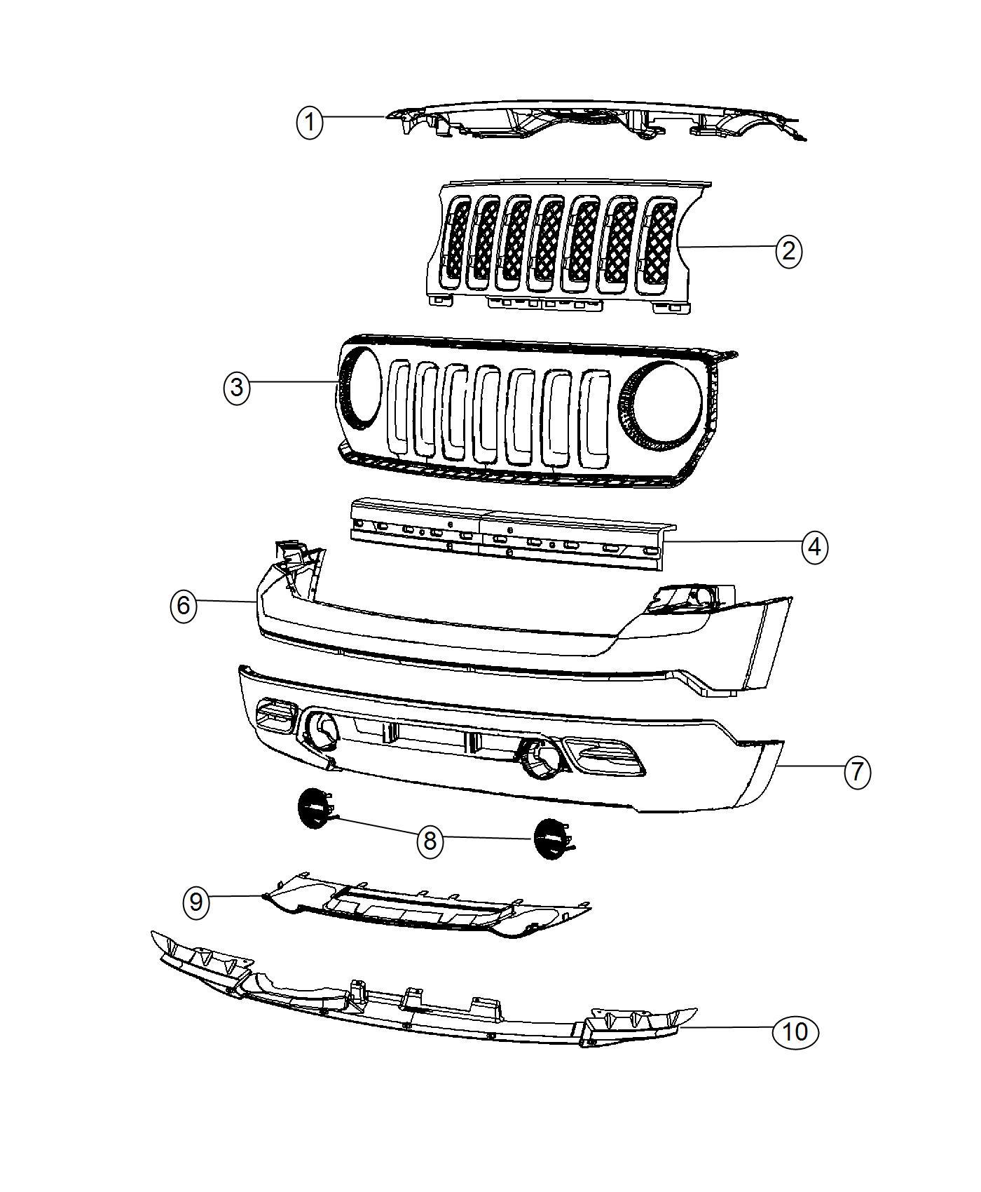 2016 Jeep Patriot Reinforcement. Front bumper. Without