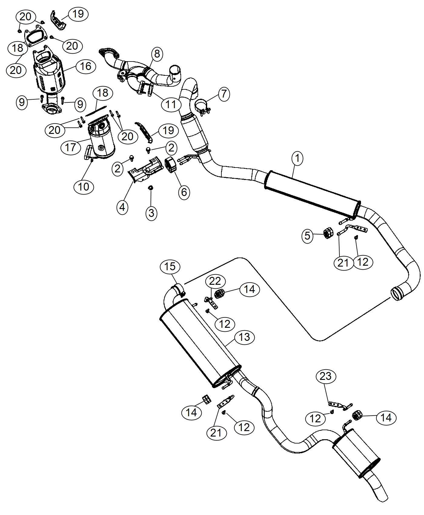2011 Dodge Grand Caravan Muffler and resonator. Exhaust