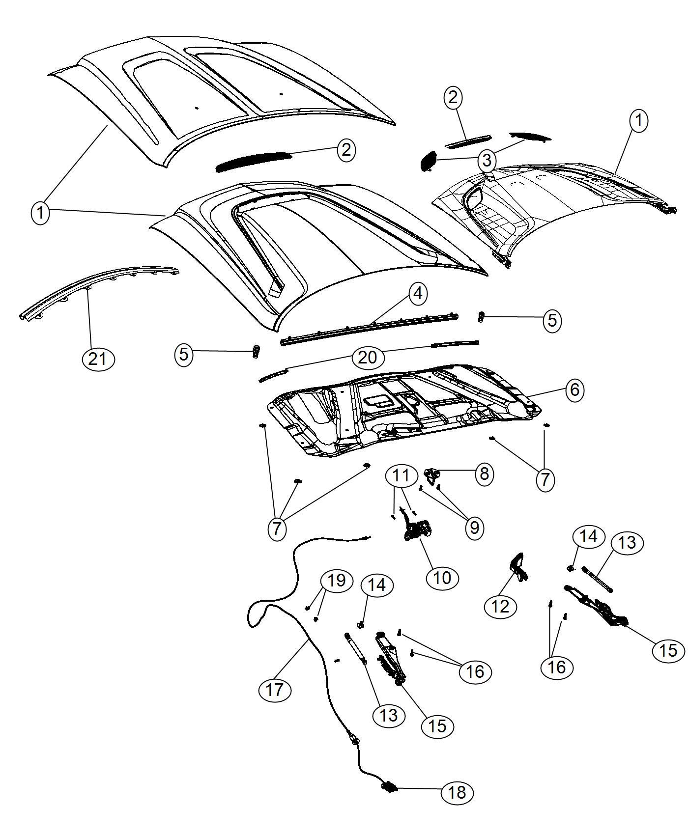 2014 Dodge Challenger Weatherstrip. Hood to radiator