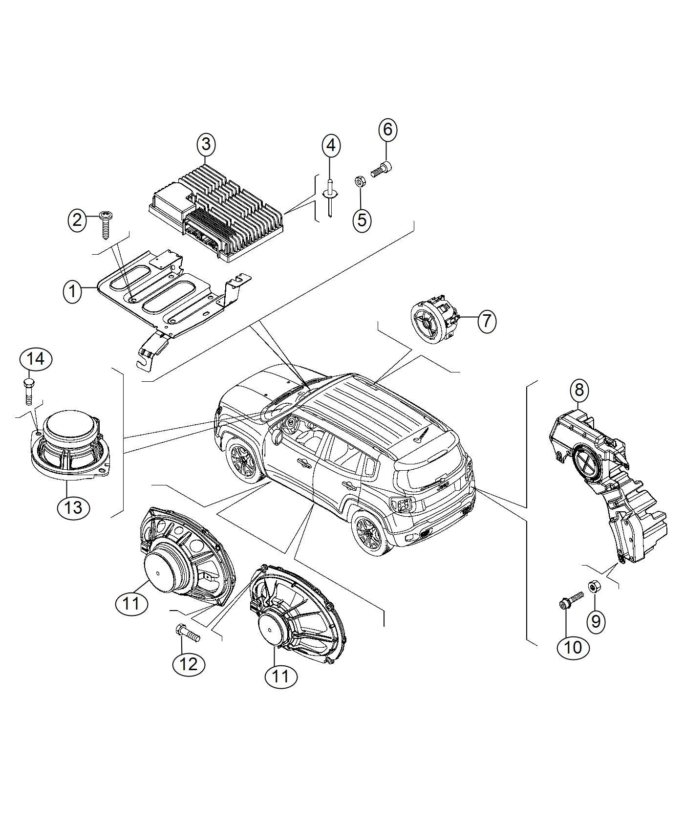 Jeep Renegade Speaker Sub Woofer Export Us Canada