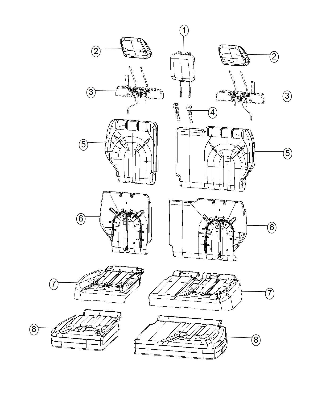 2017 Chrysler Pacifica Mechanism. Headrest folding. Left