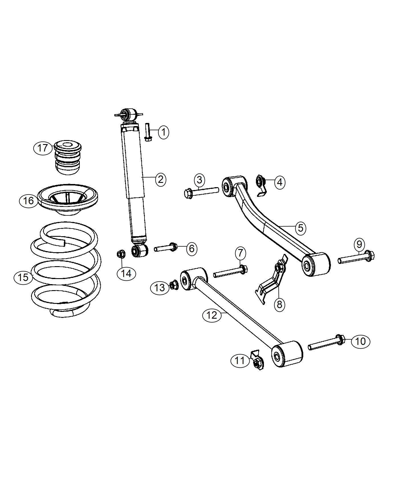 2017 Jeep Wrangler Shock absorber kit. Suspension. Rear