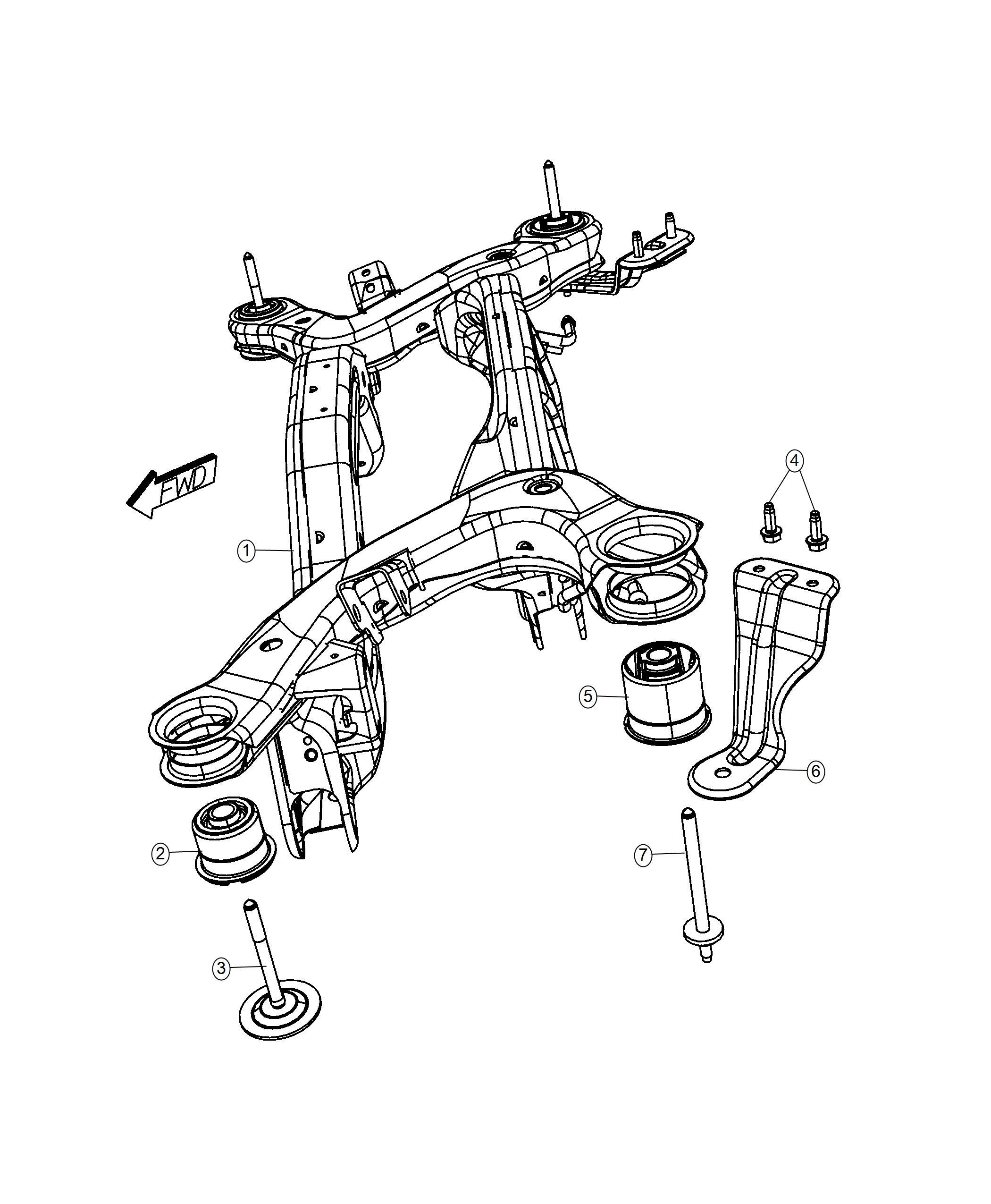 2013 Dodge Journey Crossmember. Rear suspension. After 12