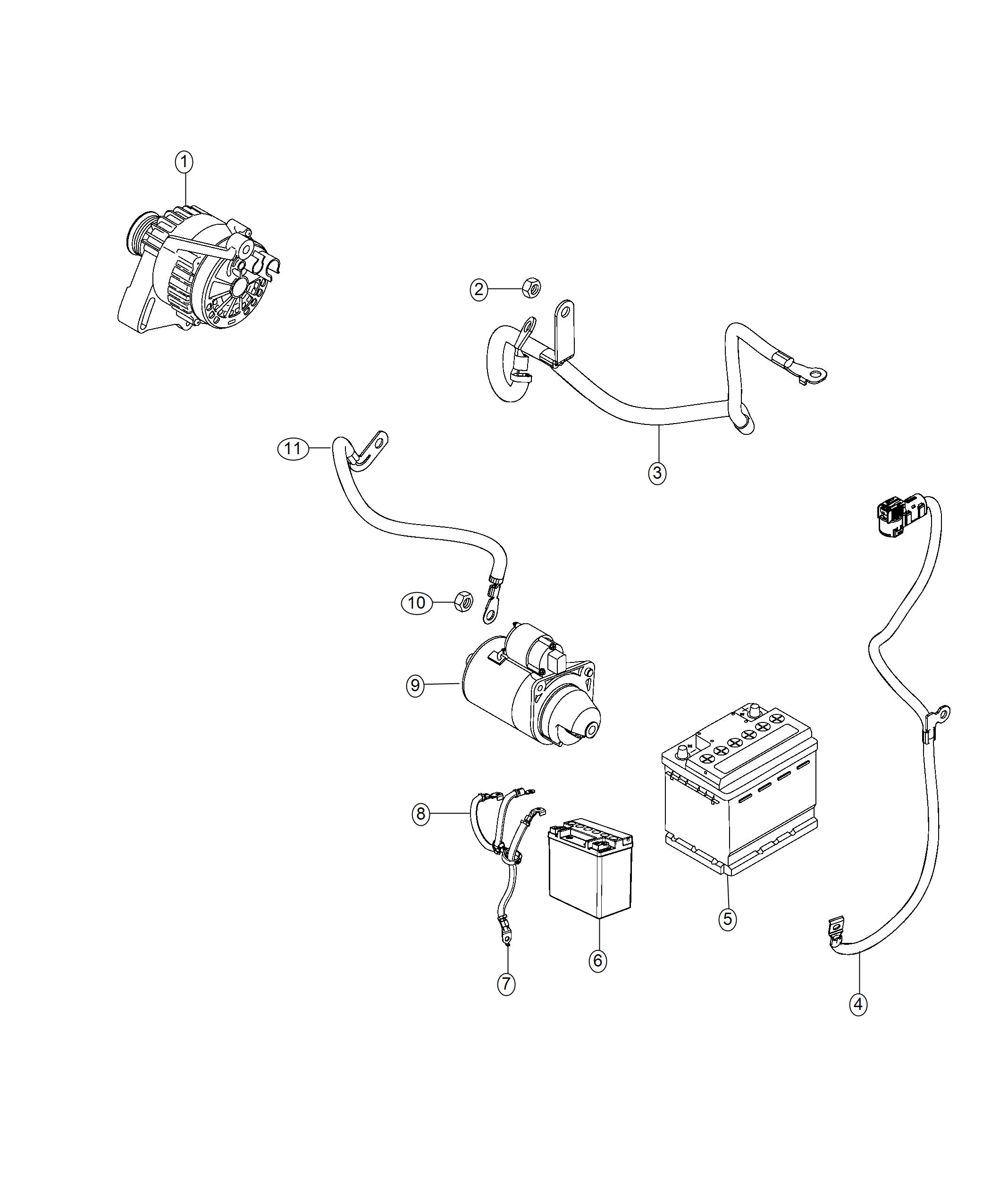 2019 Jeep Compass Wiring. Battery positive. Auxiliary