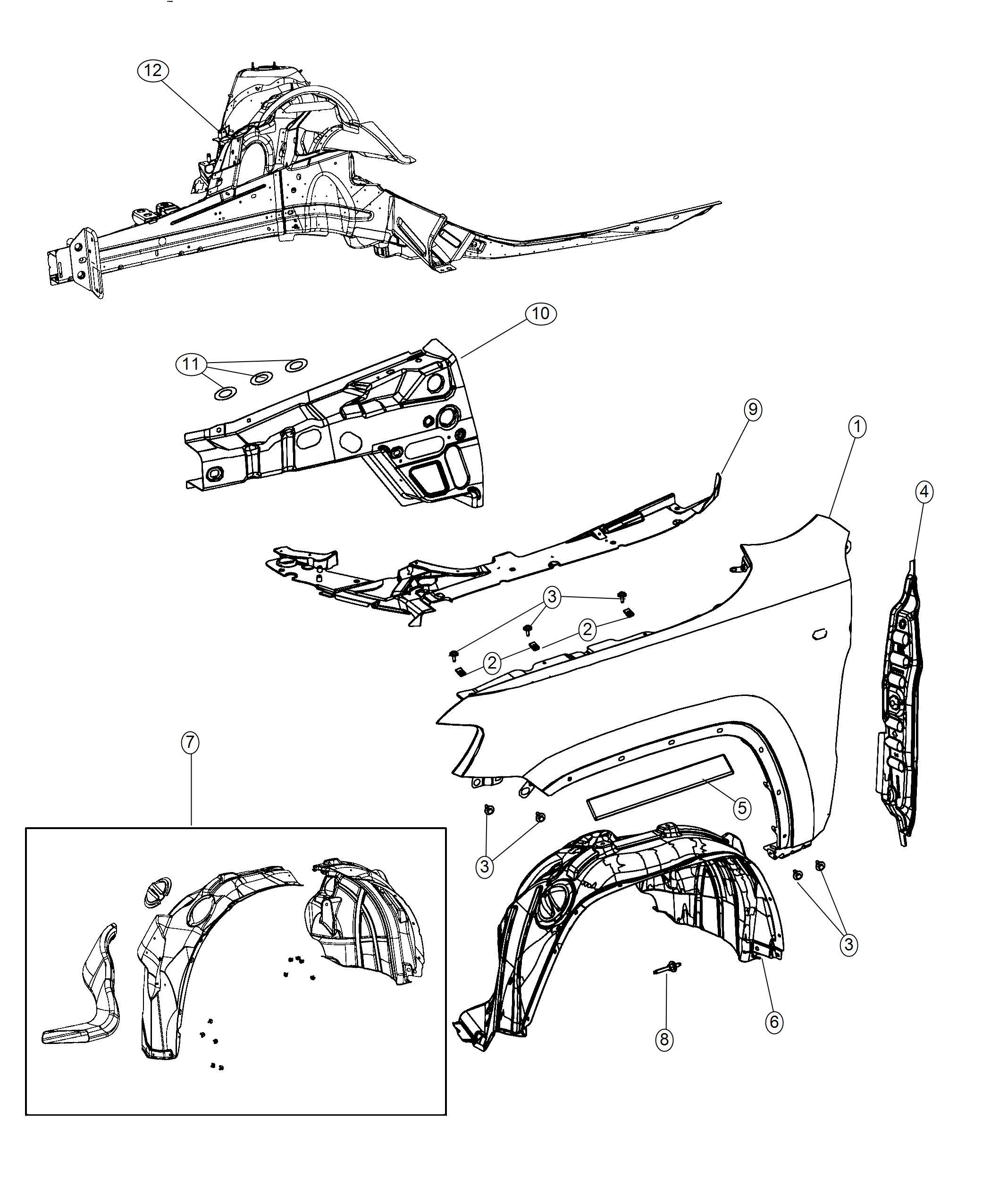 Dodge Durango Silencer. Wheelhouse inner. Front. Left
