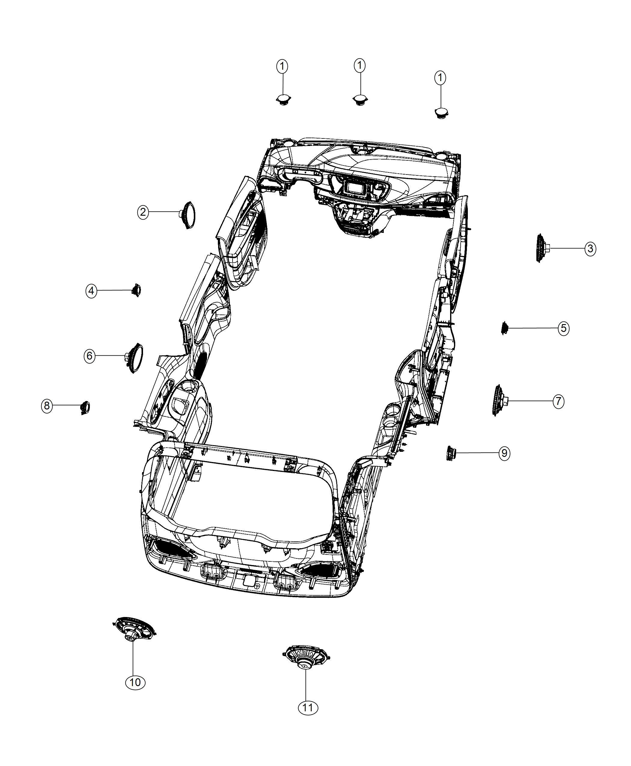 2019 Chrysler Pacifica Speaker. Front, sub woofer. 6x9