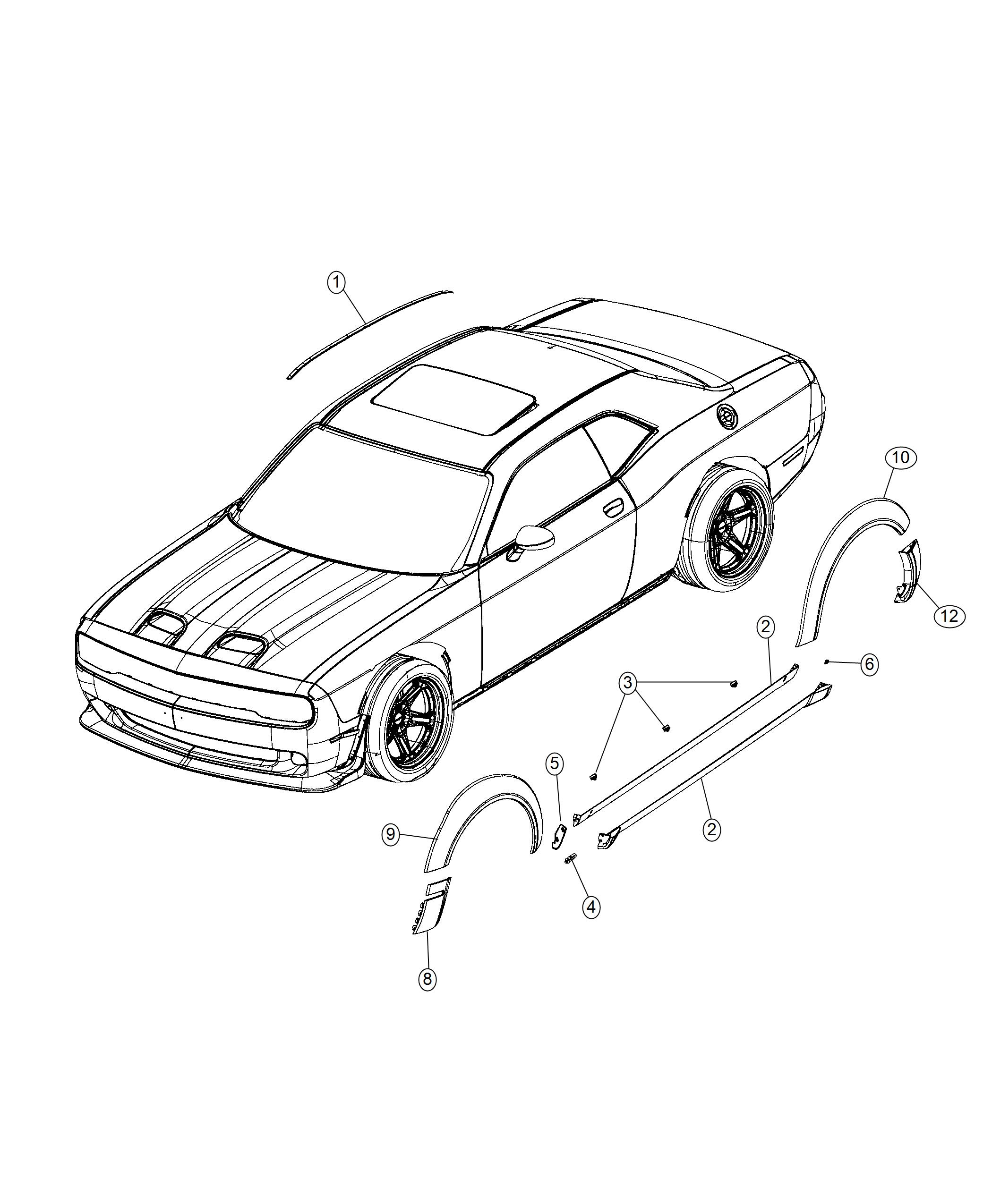 2019 Dodge Challenger Molding. Wheel opening flare. Rear