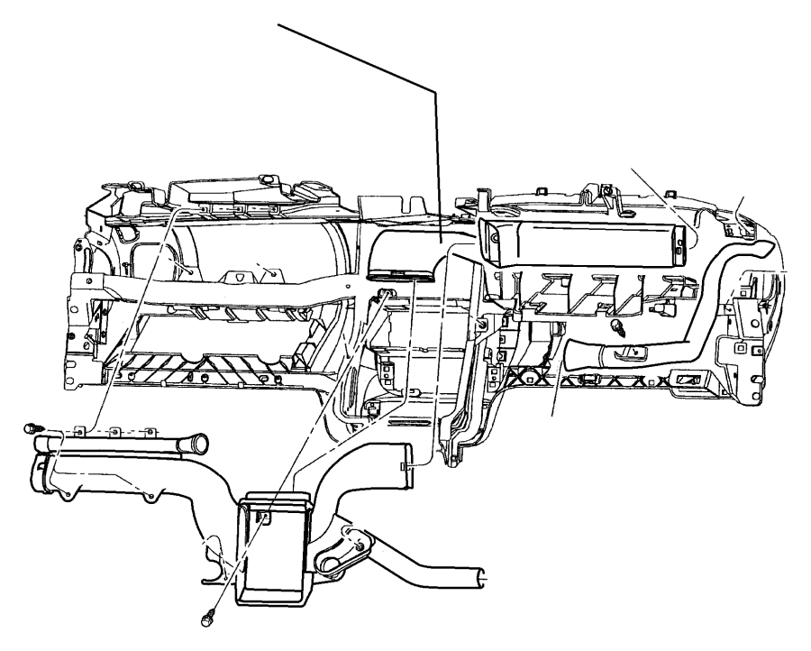 Dodge Neon Duct. Air outlet distribution. Center