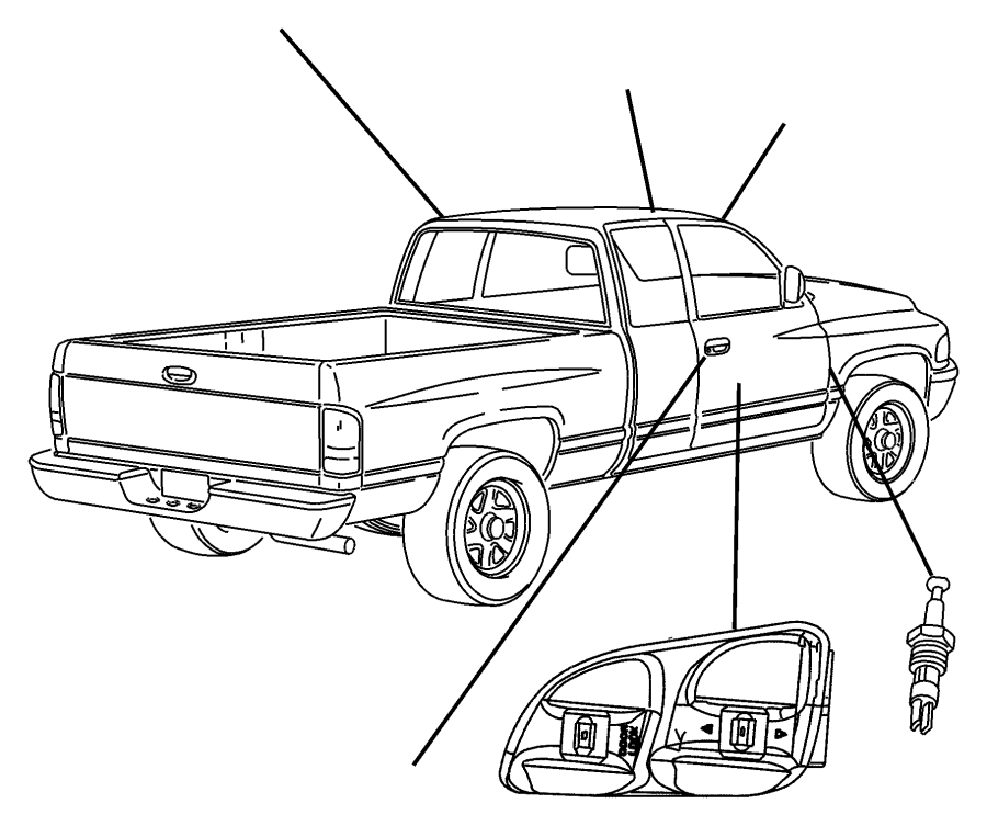 Dodge Ram 2500 Bezel. Left, left door. Power window/door