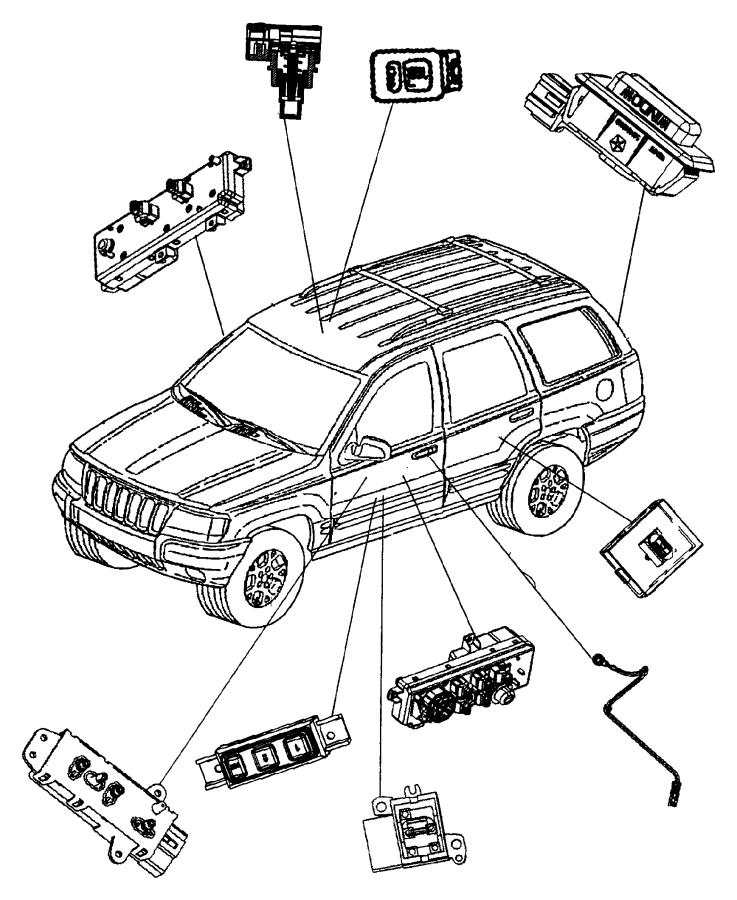2001 Jeep Grand Cherokee Switch. Door module. Drivers side