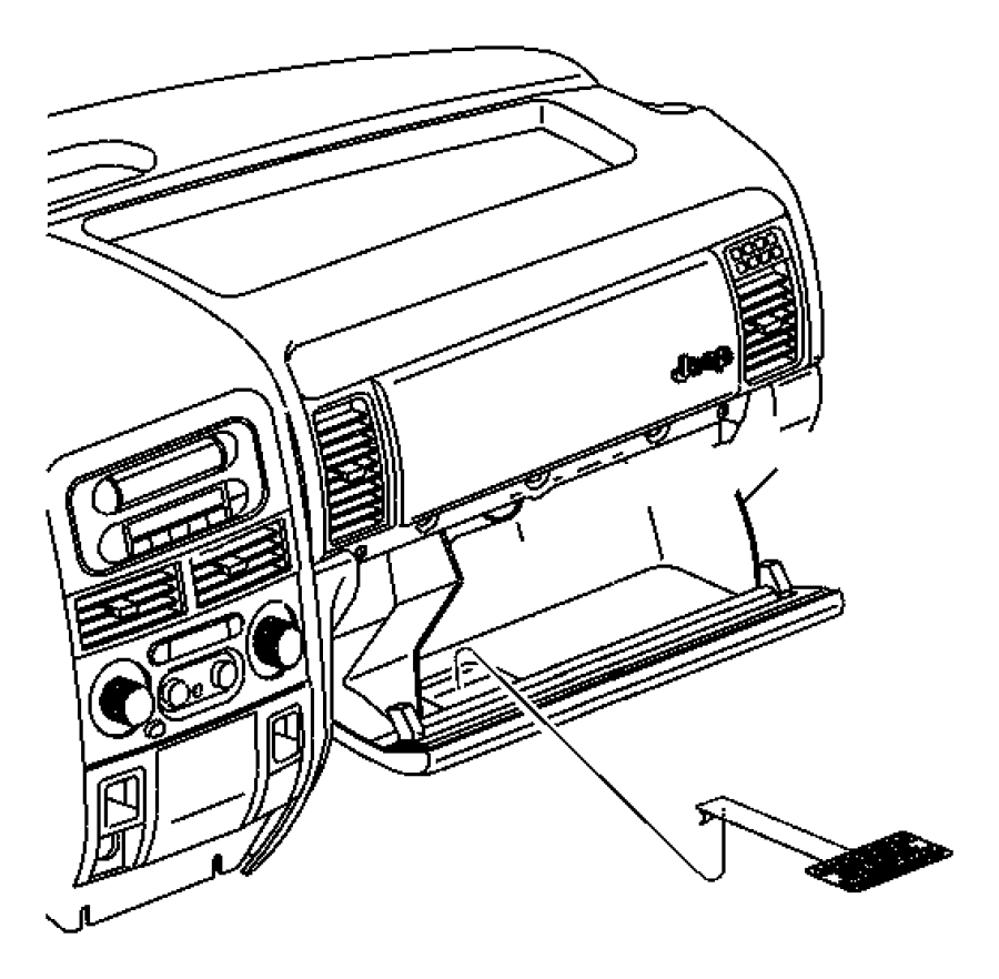 2000 Chrysler Voyager Label. Glove box door, passenger