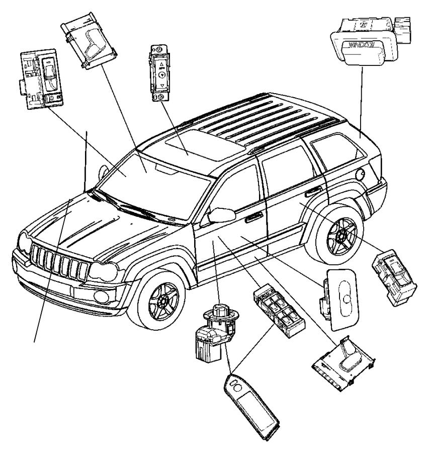 Dodge Ram 1500 Bracket. Hood ajar disarm switch. Siren