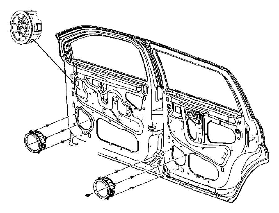 Chrysler Aspen Speaker. 6.5. Front door, rear door, used