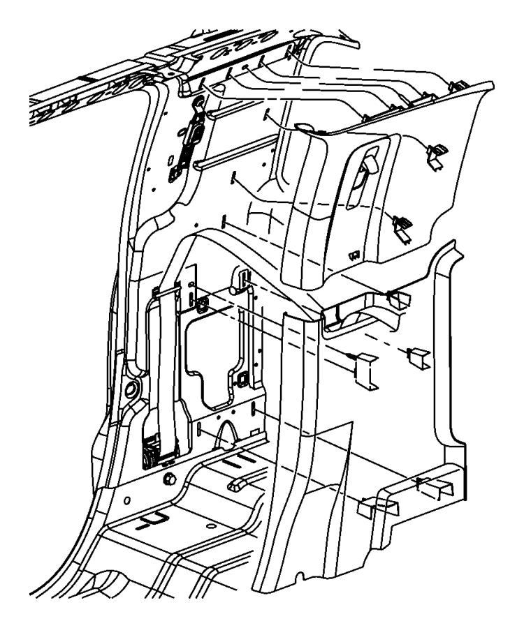 Dodge Ram 1500 Molding. C pillar. Left. [j3], [j3] quad