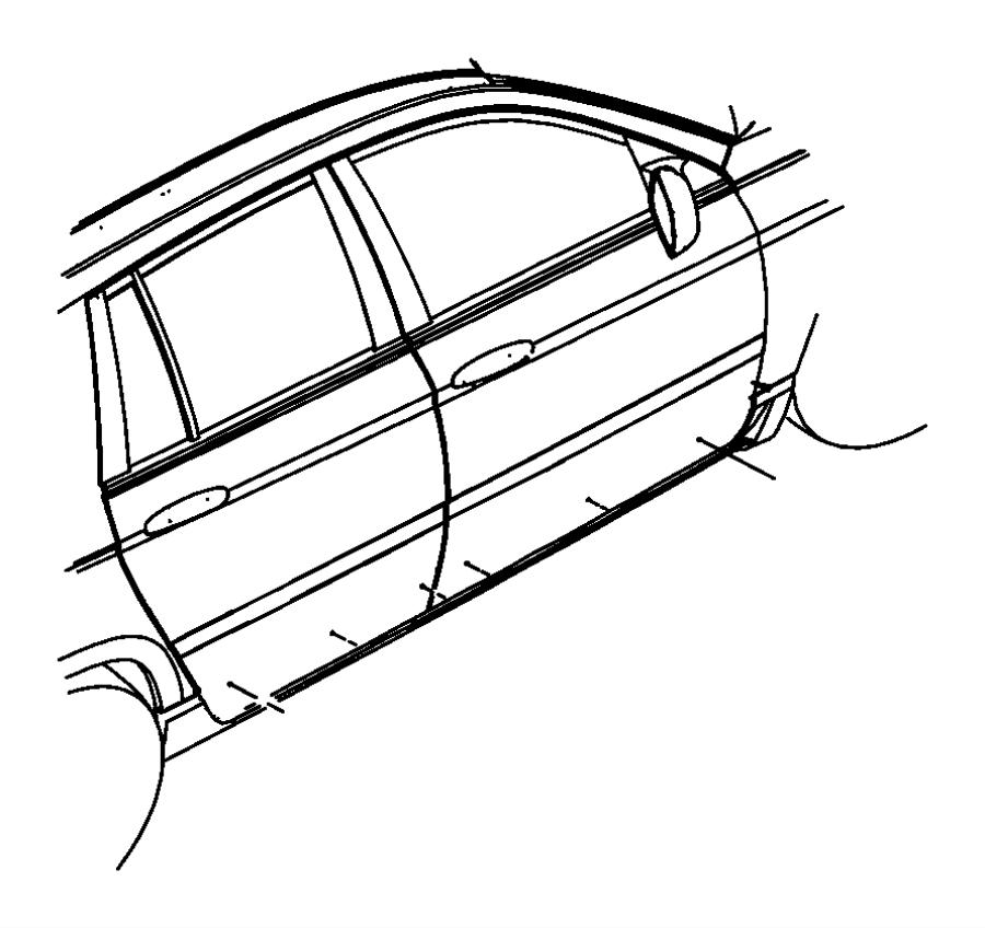 2005 Chrysler Pacifica Molding. Rear door. Right. [deep