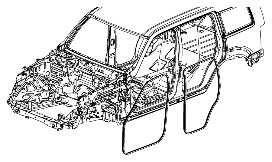 Jeep Liberty Weatherstrip. Right & left. Rear door body