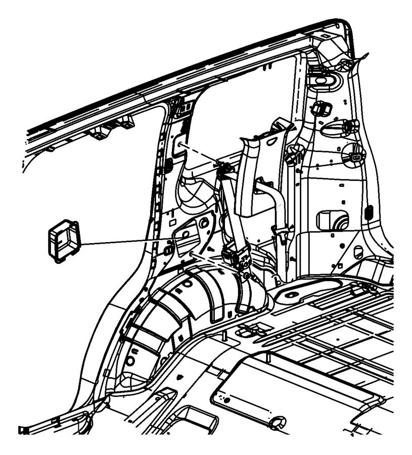 2010 Jeep Liberty Seat belt. Rear outer. Export, left. [ka