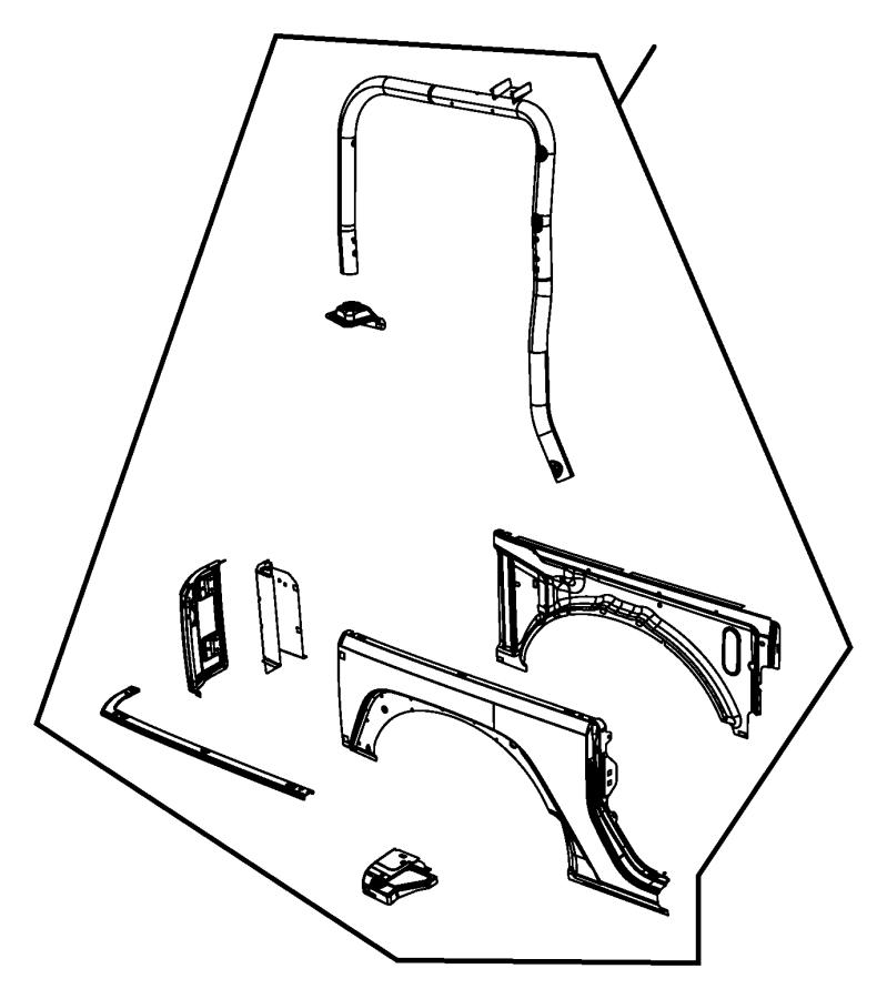 Jeep Wrangler Panel. Body side aperture rear. Left