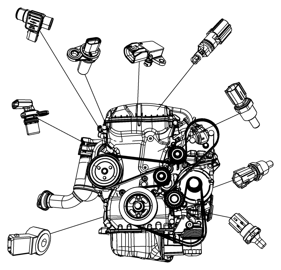 Dodge Caliber Sensor. Coolant temperature, temperature